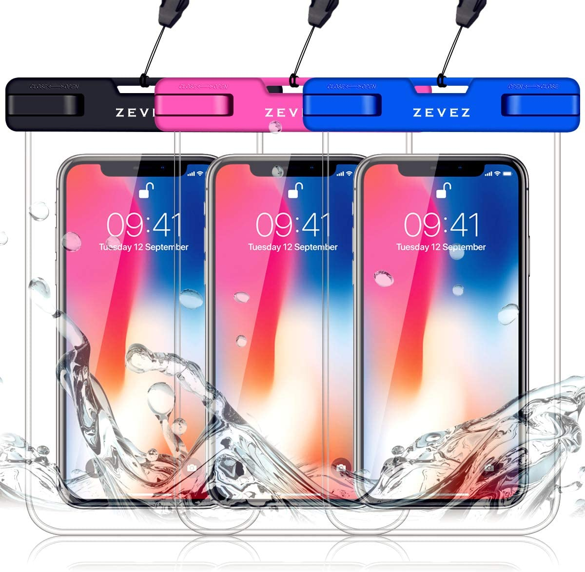 3 Pack Universal Waterproof Phone Pouch, Dry Bag for Cell Phone - Summer Water Sports and Dive for iPhone Xs Max XR X 8 7 6S Plus, Galaxy S10 Plus S10e S9, Pixel 3 2 XL HTC LG Sony Moto Up to 7