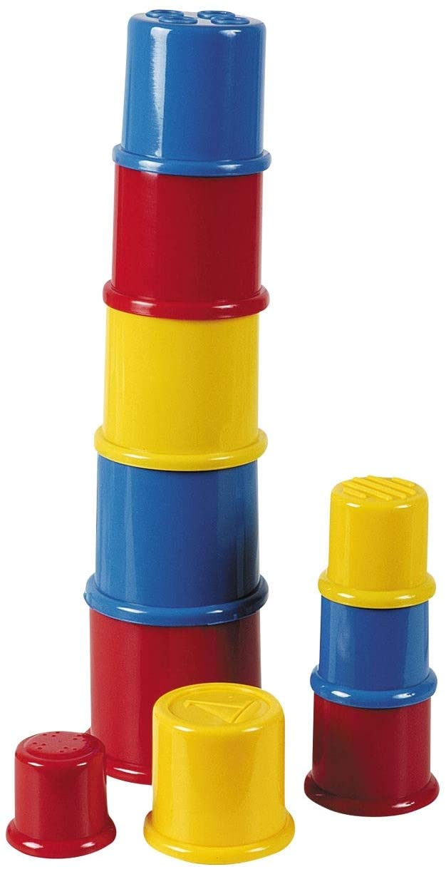 John Toy 22063 Happy World 10 Stacking Cups, Multicoloured