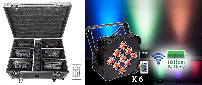 Rockville Battery Wash Lights+Wireless DMX+Charging Case, Black (Best Pack 60