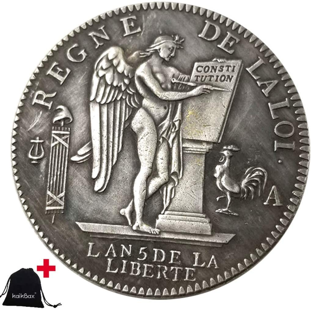 Jearls 1793 Historical Carved French Coins-Great Europe Coins- Uncirculated Commemorative Old Coin + KaiKBax Bag - It's Handmade Perfect Coin Gift KmKaiTing Hobby