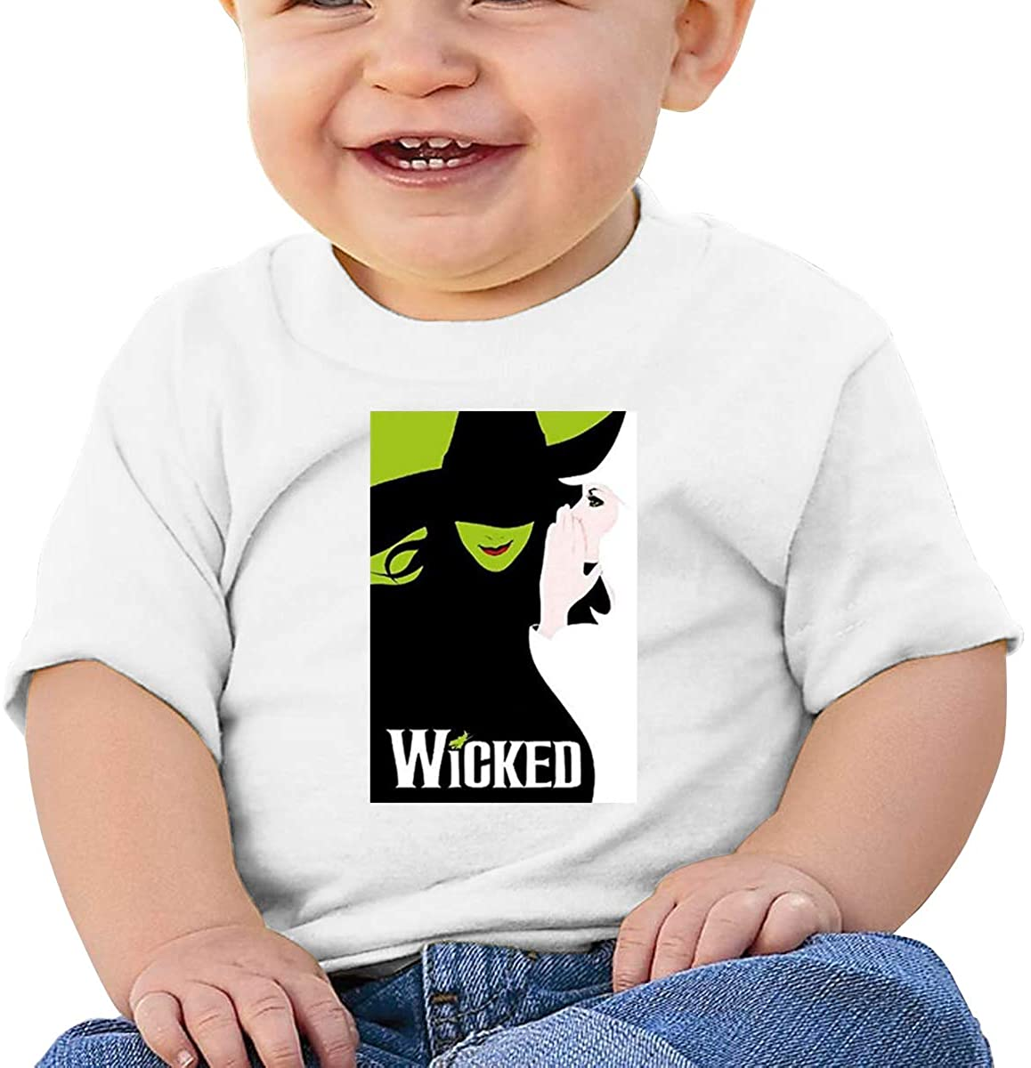 6-24 Months Boy and Girl Baby Short Sleeve T-Shirt Wicked The Musical Original Minimalist Style White