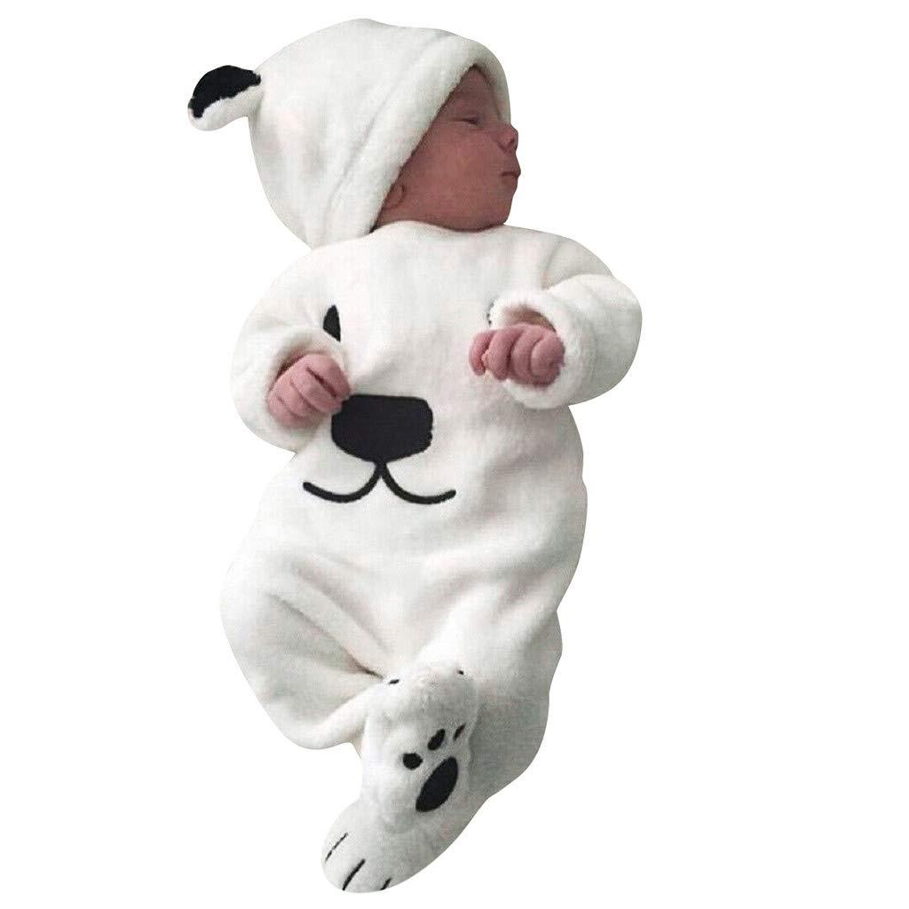 GorNorriss Infant Bunting Bodysuit, Baby Boys Girls Long Sleeve Cartoon Bear Fleece Romper Jumpsuit+Hat Sets