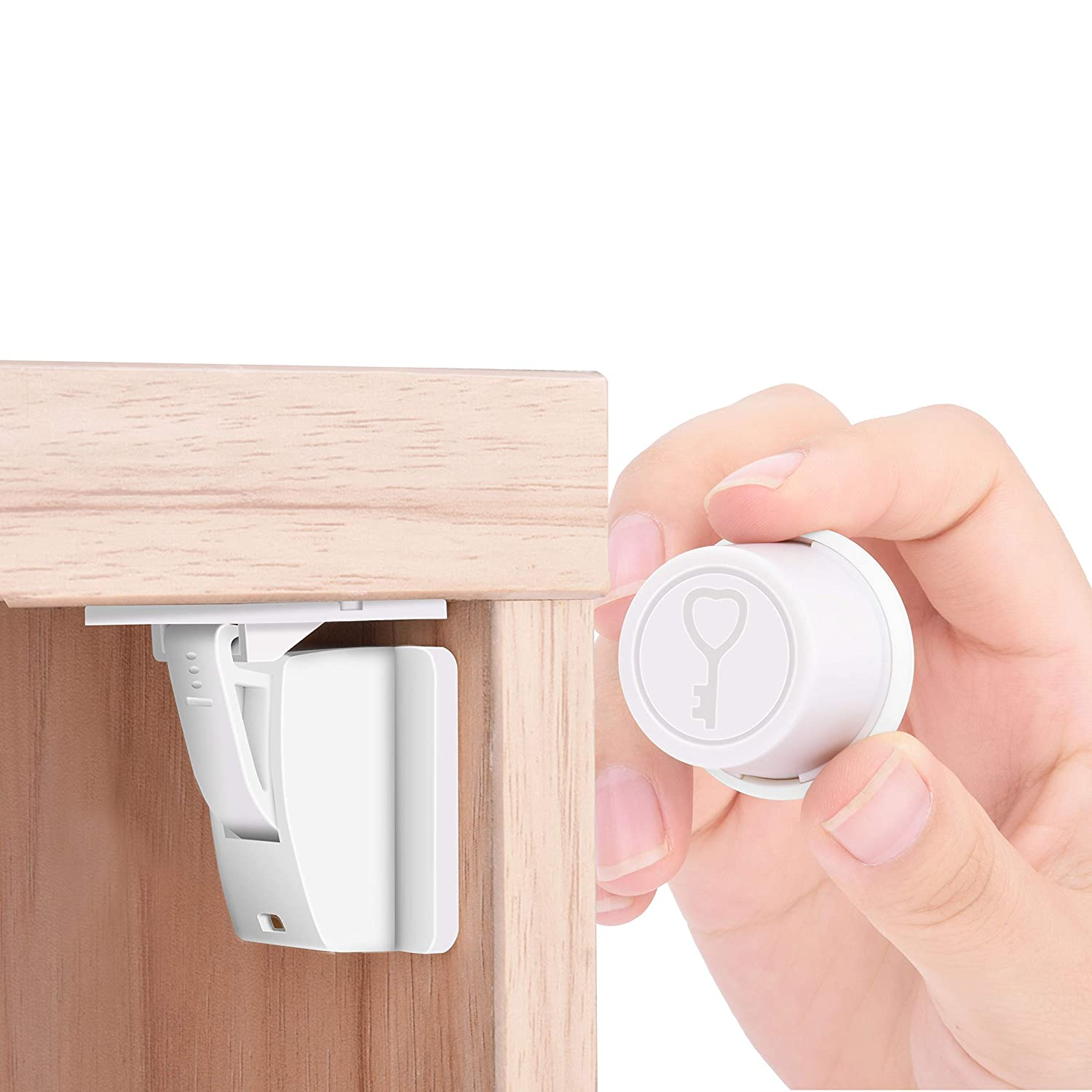 Child Proof Magnetic Cabinet Locks - Baby Safety Invisible Drawers Locks -Baby Proofing System with Quick Installation Template -Easy to Install, Strong Adhesive, No Drilling, No Tools Needed(5 Pack)