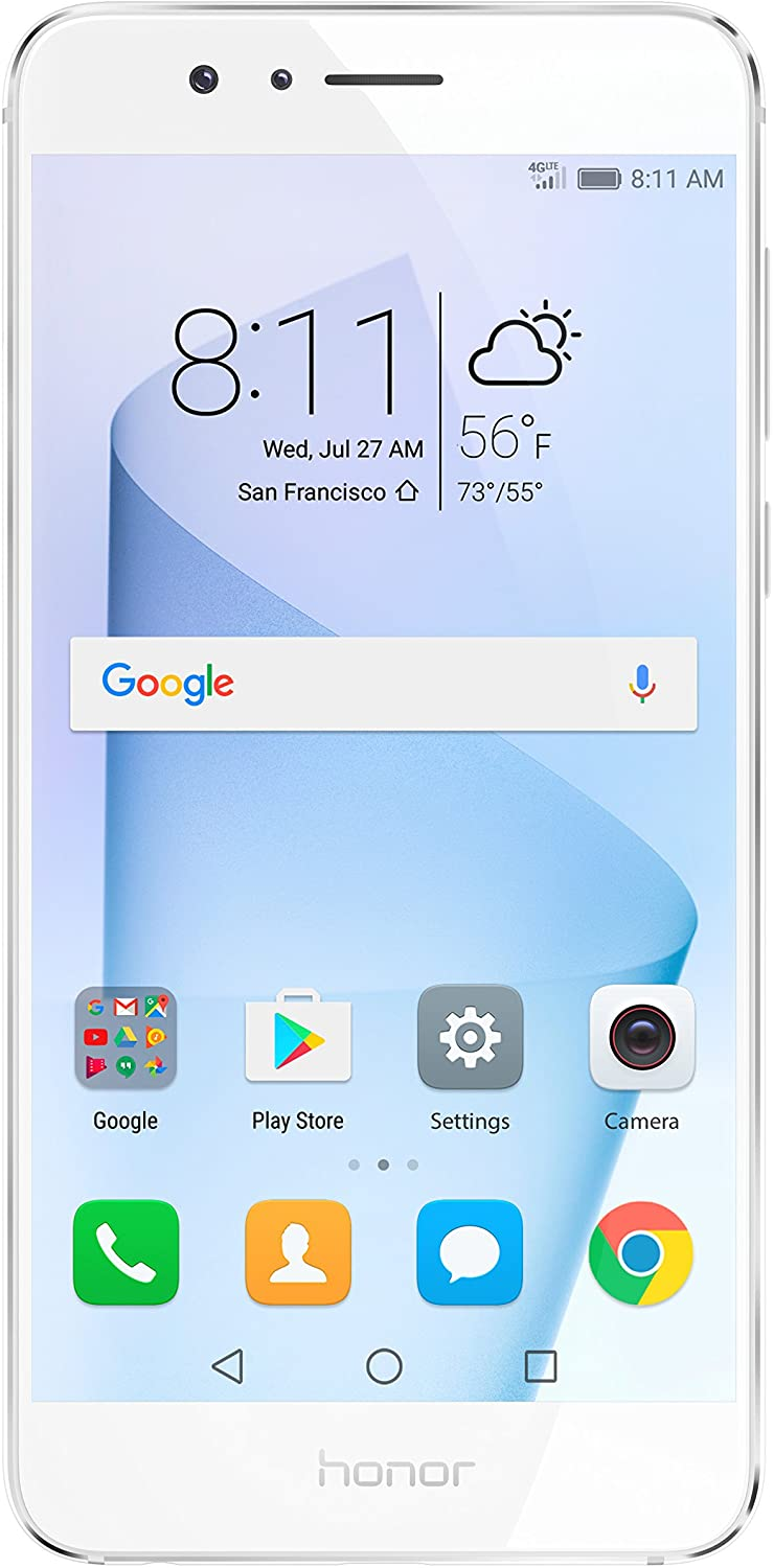 Huawei Honor 8 Unlocked Smartphone 64 GB Dual Camera - US Warranty (Pearl White)