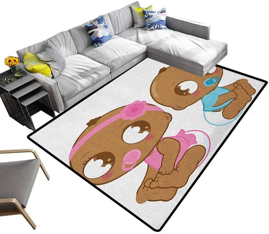 Bathroom Rug Gender Reveal, Children Girls Bedroom Rugs Cute American Baby Girl Boy in Diaper Kids Print for Sitting Room Bedroom Dormitory Sky Blue Pink and Pale Brown, 6.5 x 10 Feet