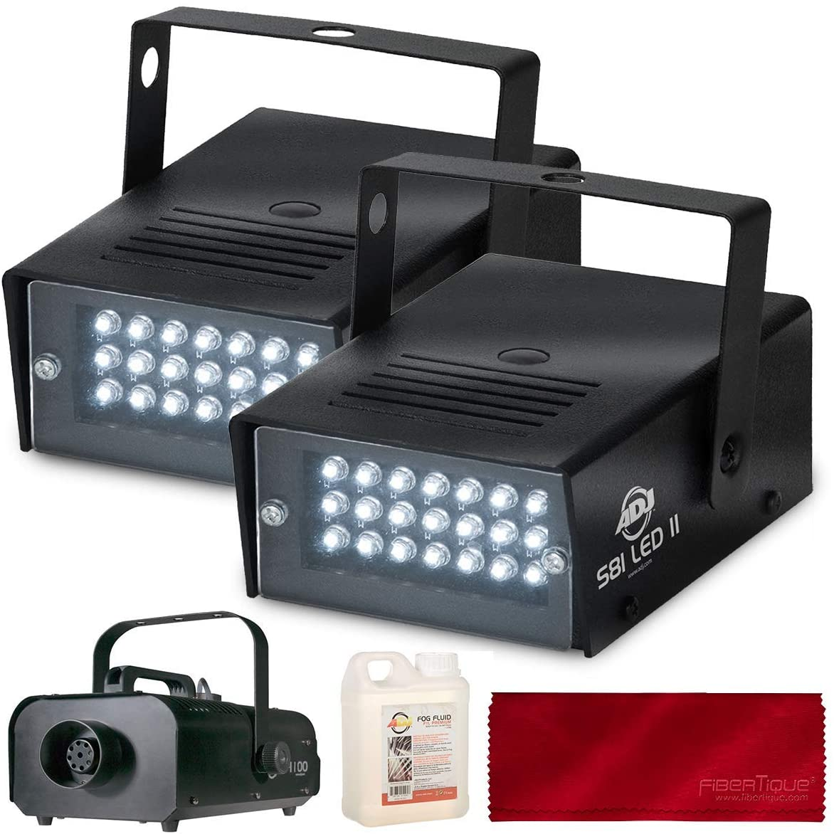 American Dj S81 Variable Speed Led Powered Led Mini Strobe Effect Complete DJ/Event Party Club Bar Light and Fog Set