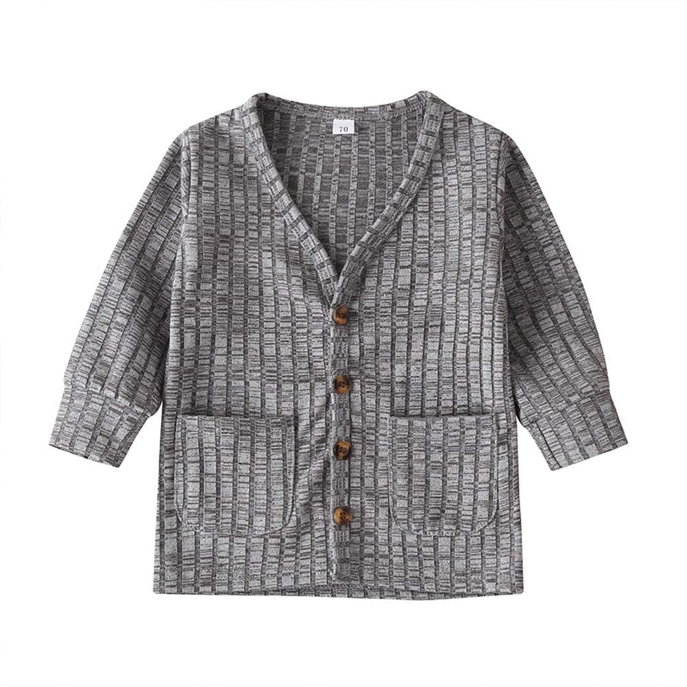 6M-3Y Baby Boys Button-Down Cardigan, Toddler Cotton Knit Sweater with Pocket for Kid, Baby Basic Clothes