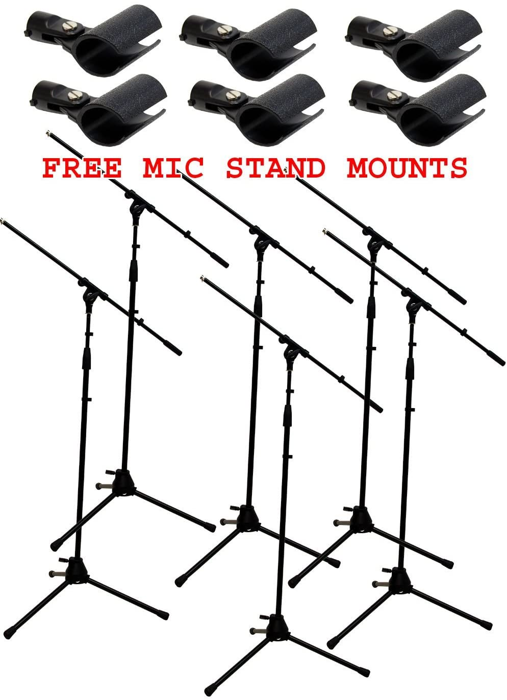 ASC (6) Pro Audio Mobile DJ Microphone Stands Adjustable Boom Stage or Instrument with (6) Free Mic Holder Clips