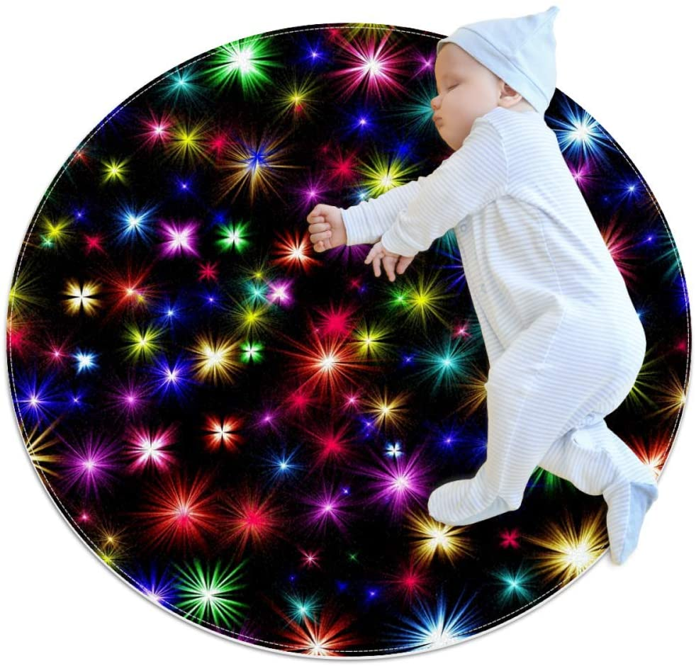 Colorful Romantic Lights Baby playmat Crawling mat Round Area Rug Home Decorative Carpet Soft and Washable Pad Non-Slip for Kid's Toddler Infants Room 2feet 7.5inch