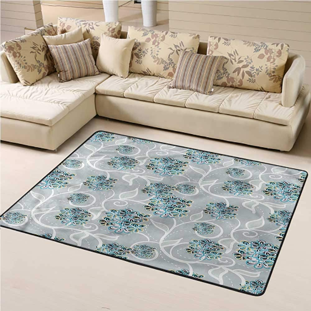 Area Rug Floral, Swirls Daisy Bouquet Baby Floor Playmats Crawling Mat Suitable for Living Room and Bedroom Nursery 3 x 5 Feet
