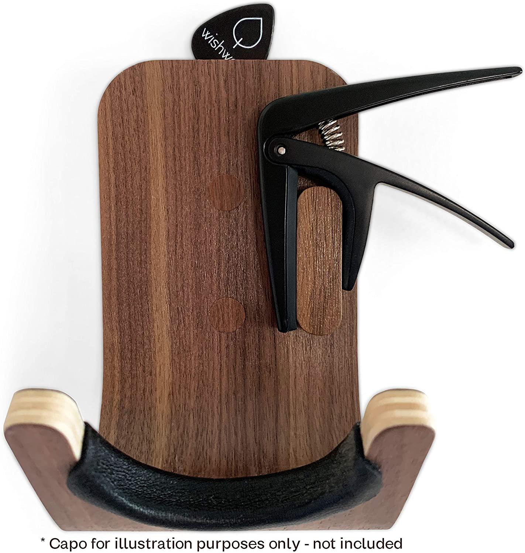 Guitar Wall Mount Hooks 2 Pack: Modern Design Guitar Hanger for Storage & Display. Heavy Duty Ply Wood Guitar Hook Holder for the Wall. Hangers Stand for Acoustic Guitars, Ukulele, Bass, Violin, Cello