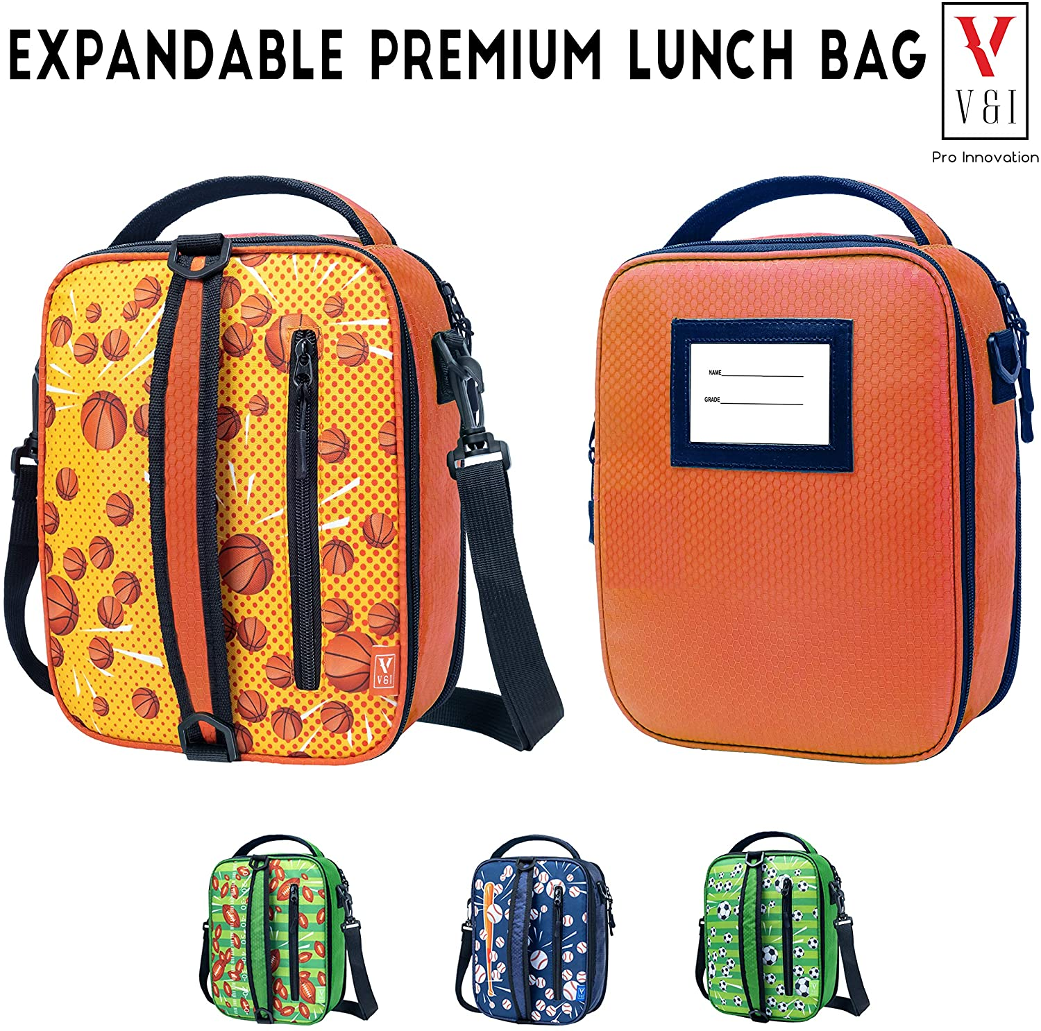 Kids Lunch Bag Insulated School Lunch Boxes Boys Girls Basketball Sports Washable Freezable Durable Reusable Soft Thermal Leakproof Expandable Lunchbox Cooler Fits Yumbox Snack Box Bento Container