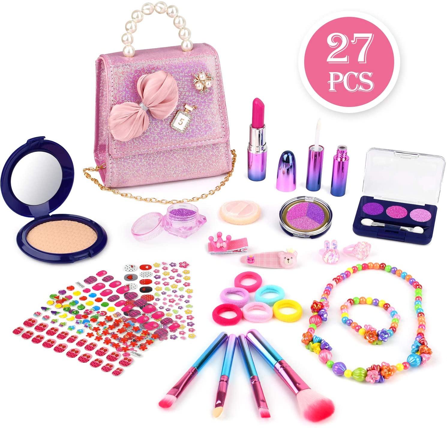 Bakeling 27 Pcs Girls Pretend Makeup Kit Safe & No-Toxic Makeup Toy Set for Kids Fake Make Up Kits Cosmetics Set with Fashion Pearl Bag for Little Girls Birthday Christmas.