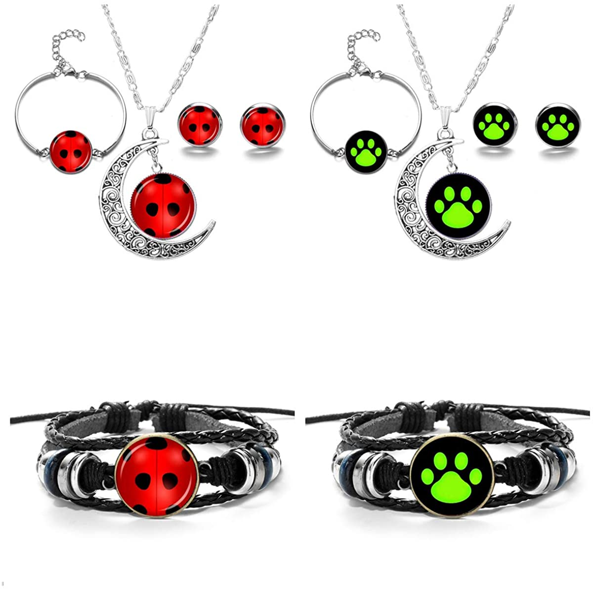 JOJO & LIN 8pcs/set Ladybug Pendant Necklace and Bracelet Earrings Set For Birthday Party Gift