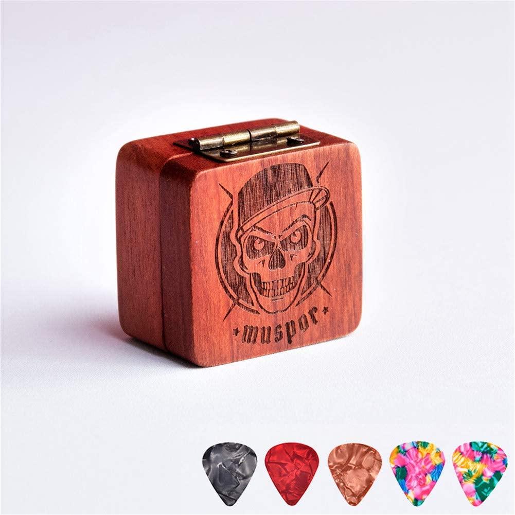 DishyKooker Wooden Pick Box Storage with 5pcs Guitar Picks for Electric Guitar Bass Ukulele Skull
