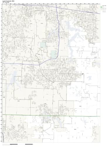 Working Maps Zip Code Wall Map of Lee's Summit, MO Zip Code Map Laminated
