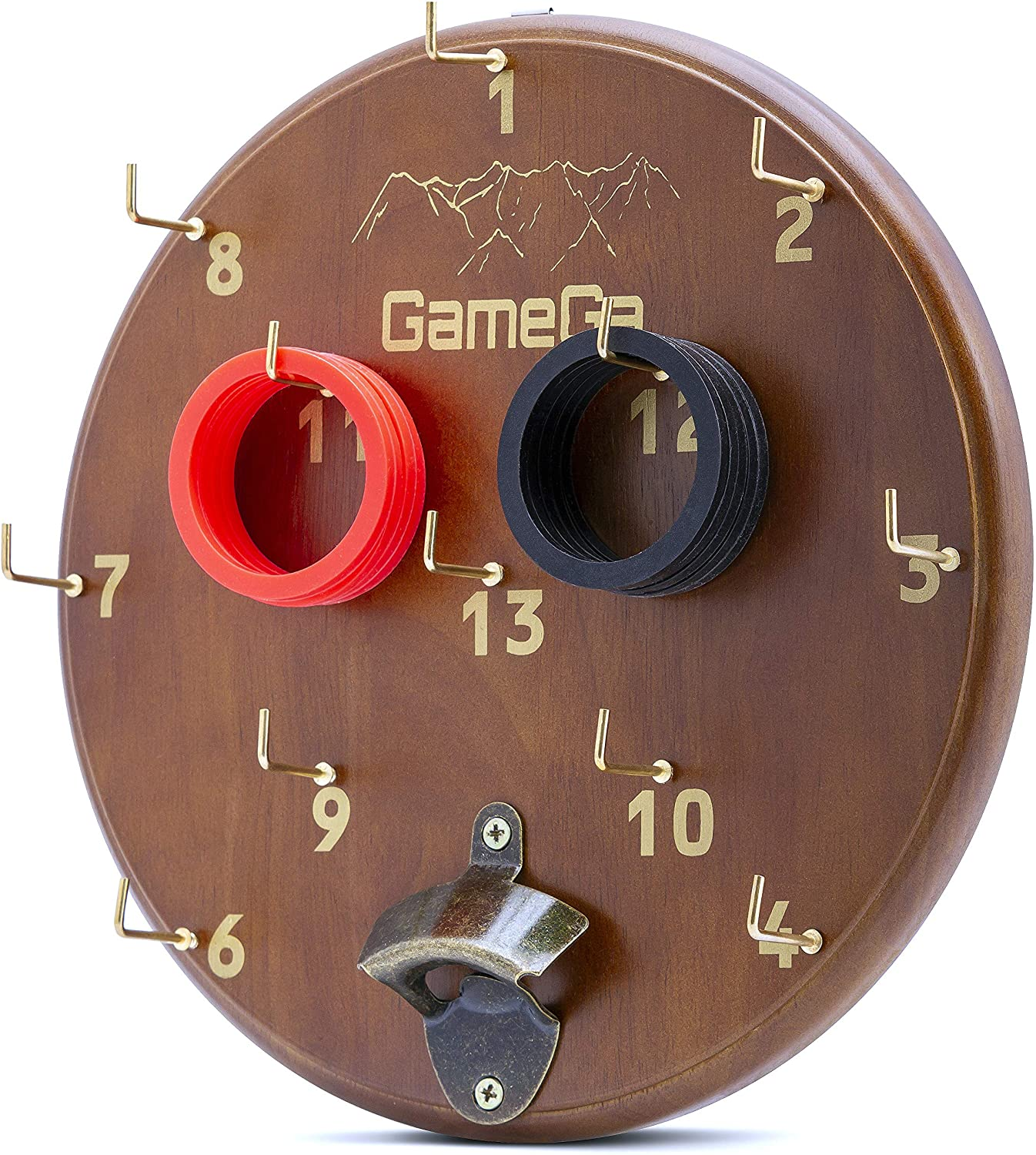 GameGa Hook and Ring Toss Game for Kids and Adults, Birthday Gifts for Men, Boys or Girls, Man Cave Furniture, Safe Dart Board, Hooky Retro Wood Design, Tiki Toss Bar Game, Outdoor and Indoor Games
