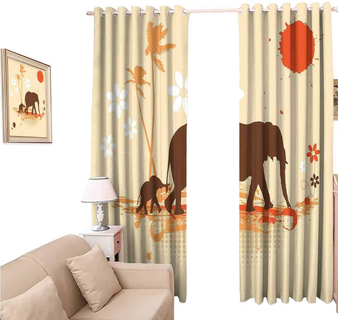 oobon Window Blackout Curtains Fabric, Elephant Mother and Baby s in Tropical Lands Desert of Safari Kids, 108 Inches Long for Nursery Room, 96x108 inch