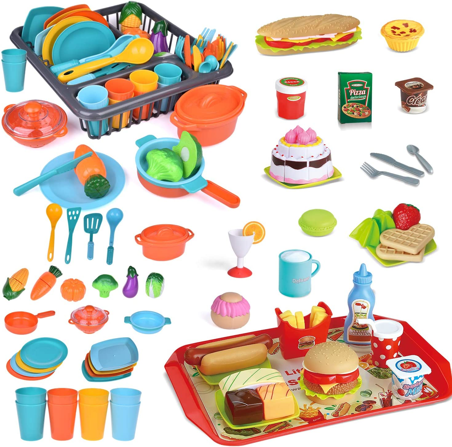 FUN LITTLE TOYS 49 PCs Play Food for Kids Kitchen with Play Kitchen Set, Play Kitchen Accessories