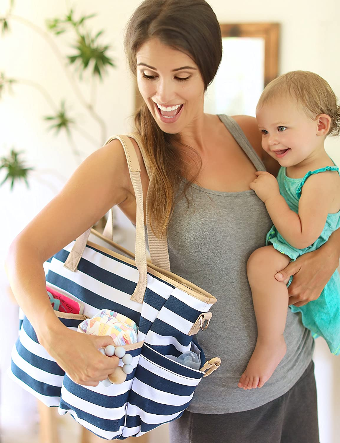 Lil Raskalz Mommy Baby Diaper (Striped) Canvas Tote Trendy Shoulder or Crossbody Carry (Navy/White)
