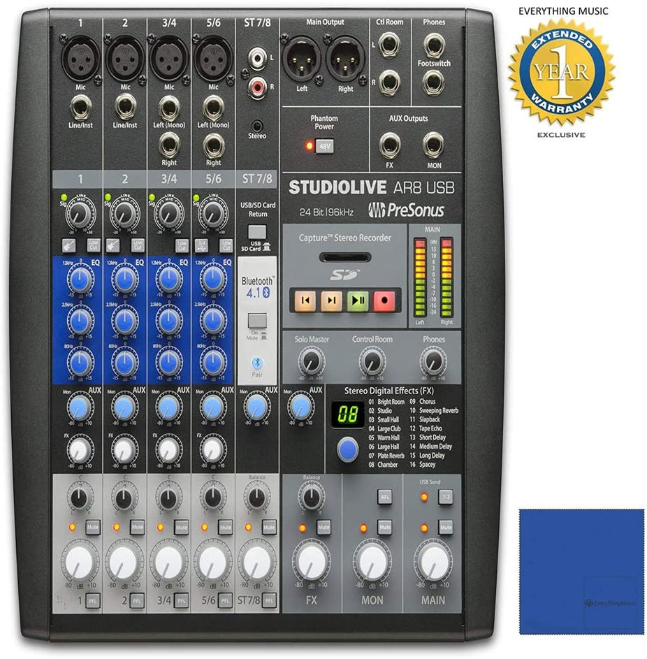 PreSonus StudioLive AR8 USB 8-Channel Hybrid Performance & Recording Mixer with 1 Year Free Extended WarrantyandMicrofiber