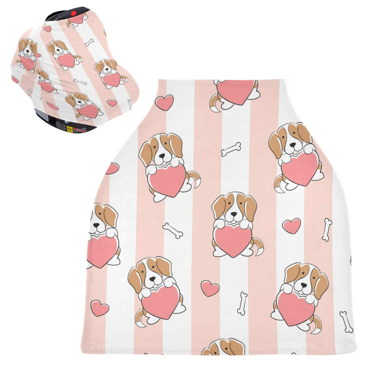 Stretchy Baby Car Seat Canopy - Beagle Hug Hearts Infant Stroller Cover Multi Use Carseat Canopy Cover Nursing Cover for Boy