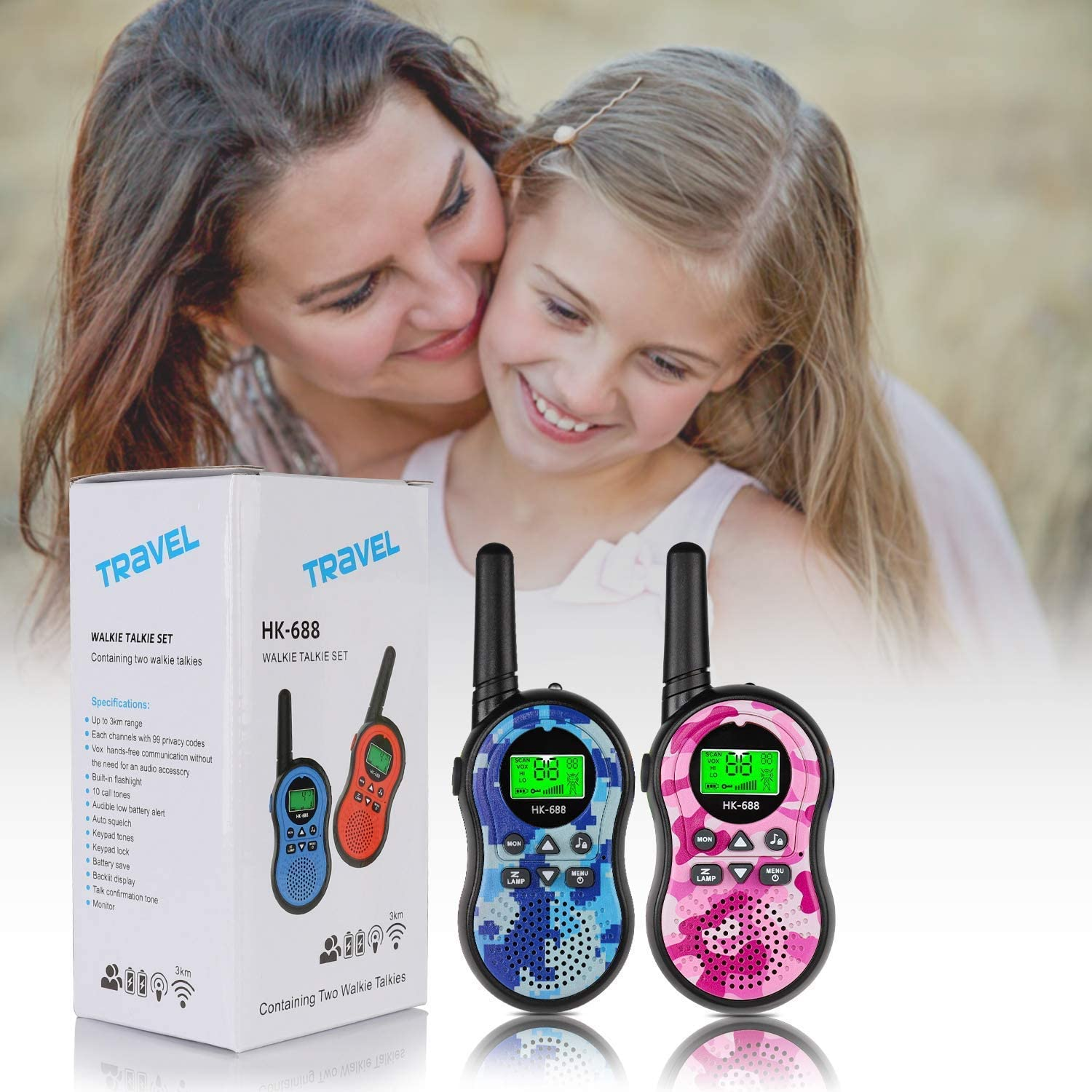 Kids Toys Handheld Walkie Talkie with Flashlight, Kids walkie talkies, 22 Channels Two Way Radio Long Range, Best Gifts for 3-12 Years Old Boy Girls Game and Outdoor Adventures