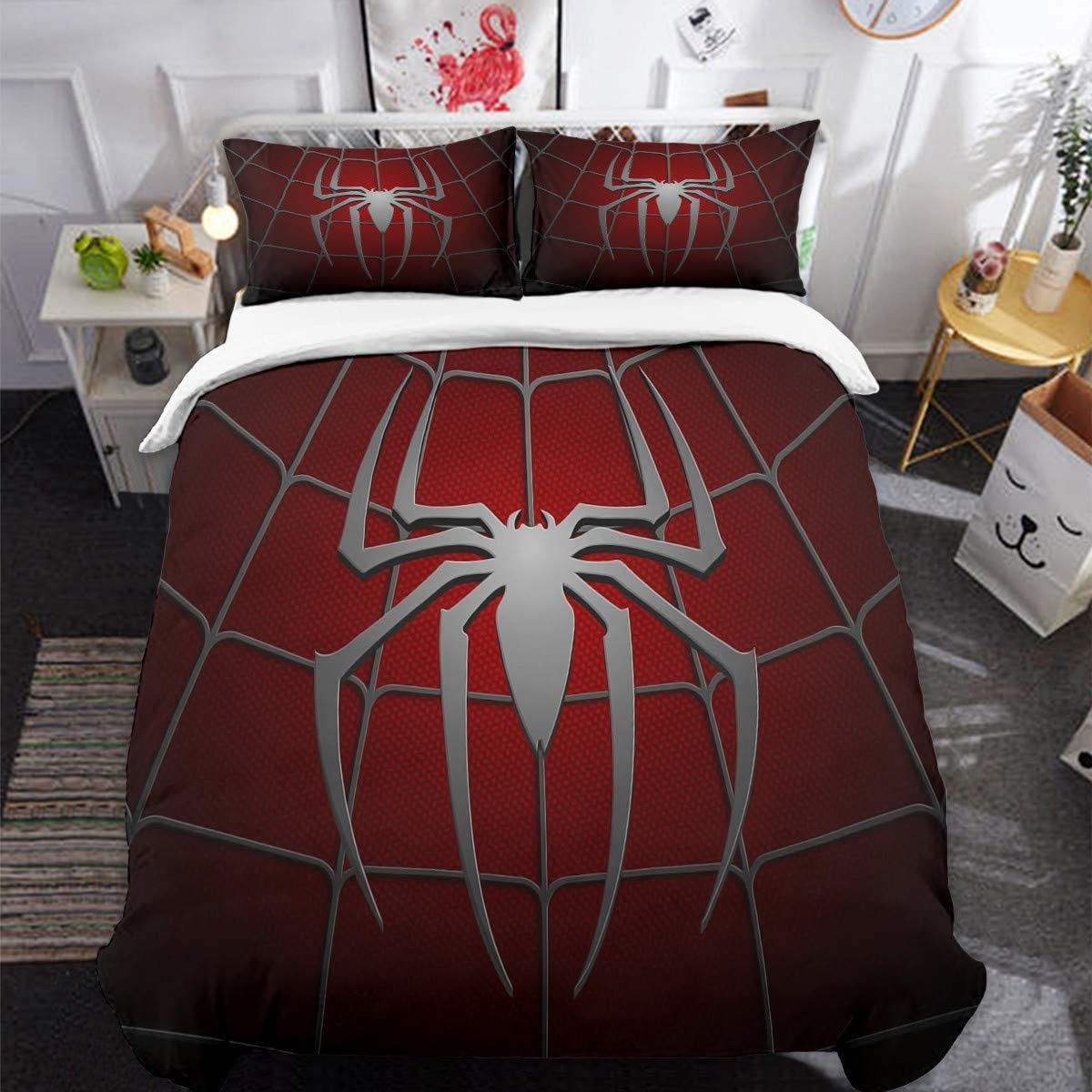 3D Printed Spider Queen Bedding Set for Children Teens, Spider Web Pattern Duvet Cover Set with 2 Pillowcases, Dark Red Comforter Cover with Zipper Closure 90