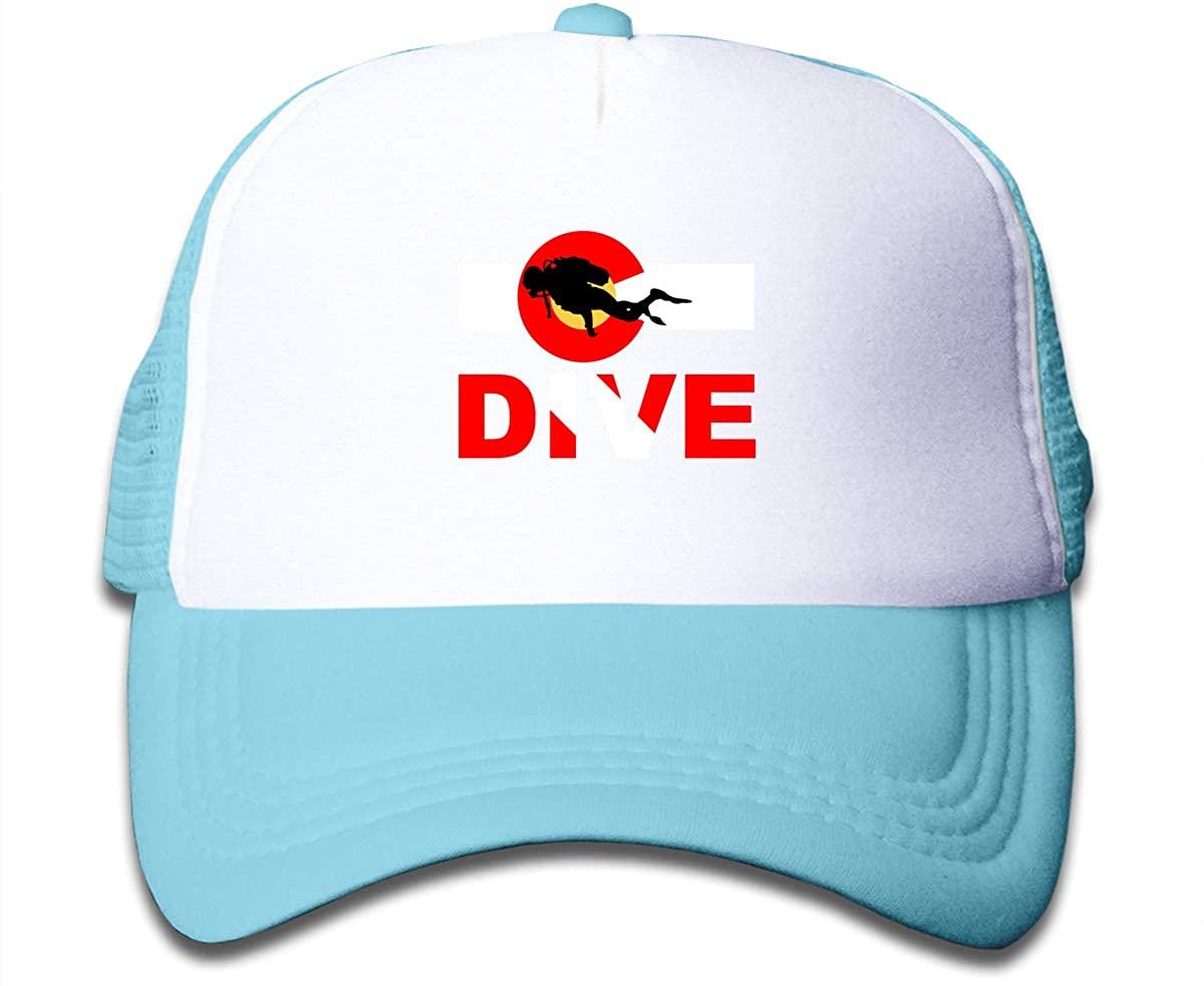 Alin-Z Colorado Flag Scuba Dive Children's Adjustable Mesh Hats Baseball Trucker Cap for Boys and Girls