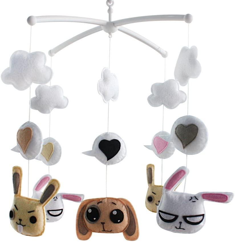 Panda Legends Handmade Cute Rabbit Dogs Baby Crib Mobile Nursery Room Decor Musical Mobile Crib Toy for Girls Boys