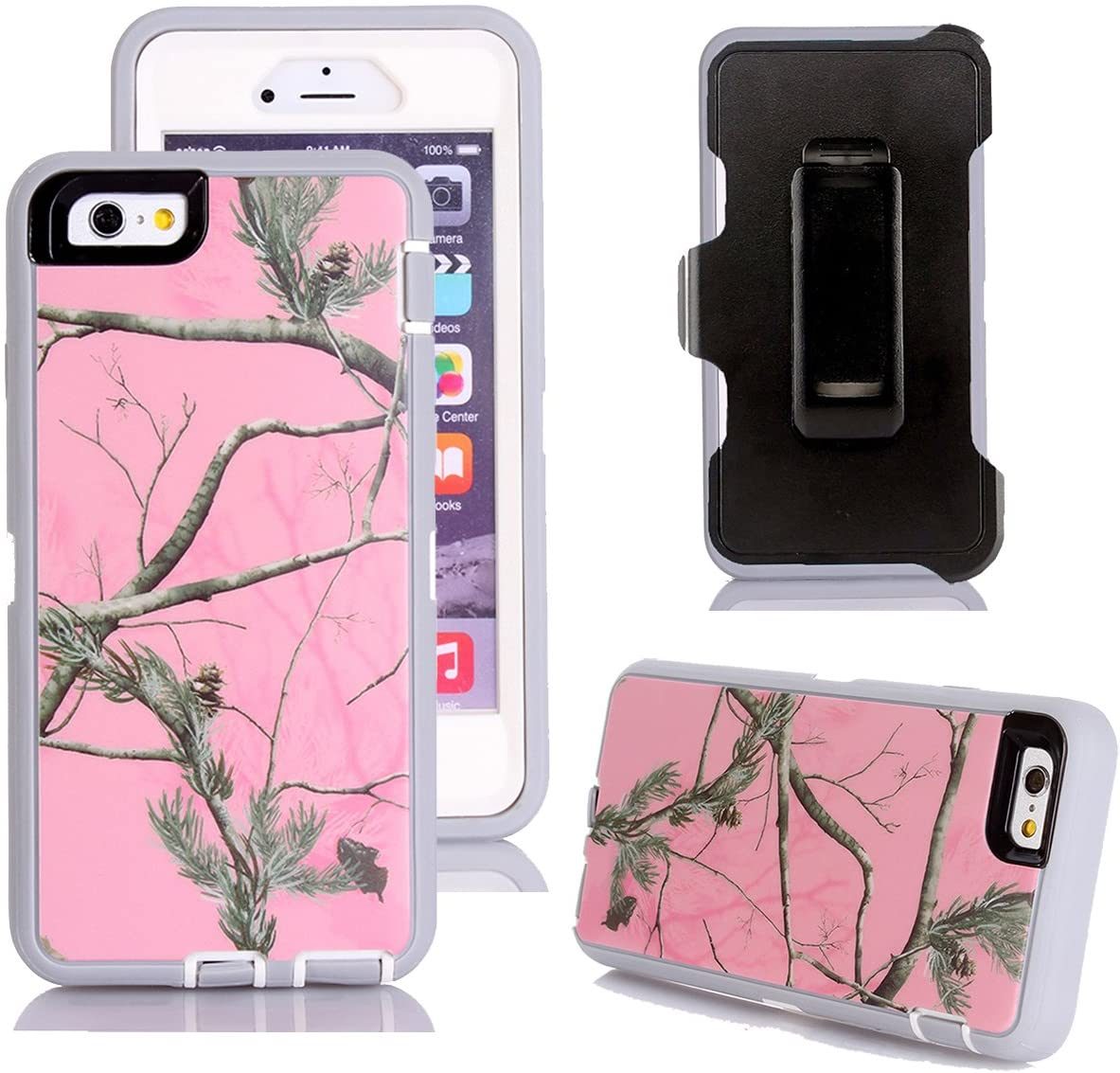 iPhone 6s Plus Case, Harsel Defender Series Heavy Duty Tree Camouflage Impact Tough Armor Hybrid Military w/Belt Clip Screen Protector Case Cover for iPhone 6s Plus/iPhone 6 Plus (Pink/Tree)
