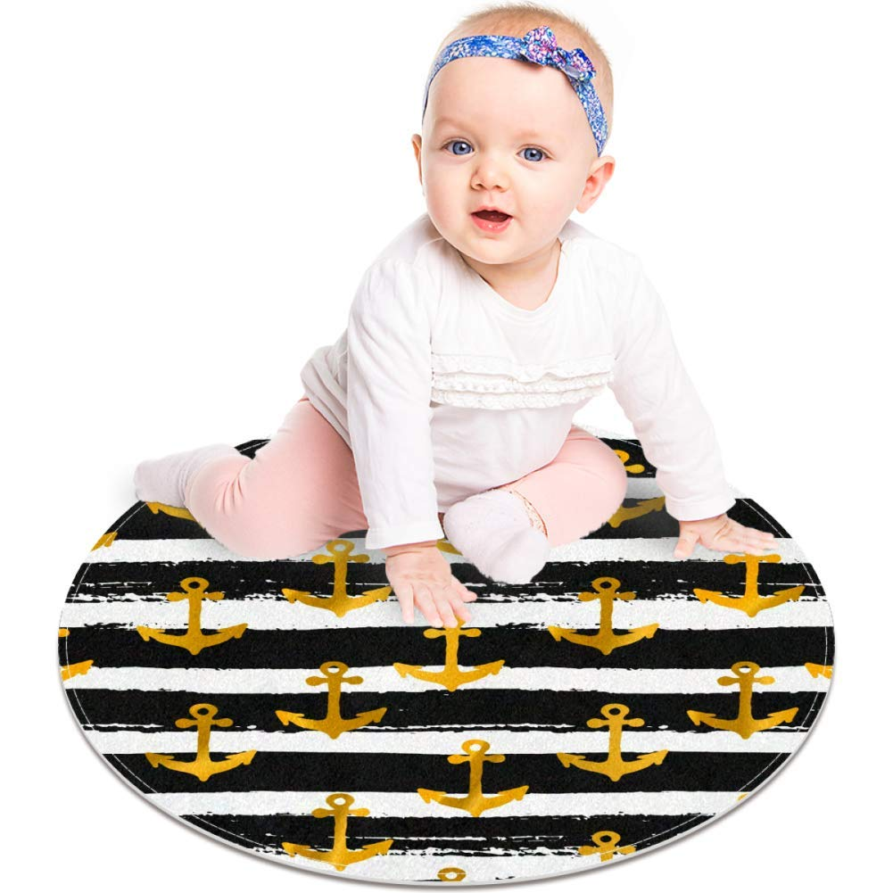Golden Anchors On Black and White Striped Pattern, Non Slip Doormat 23.6