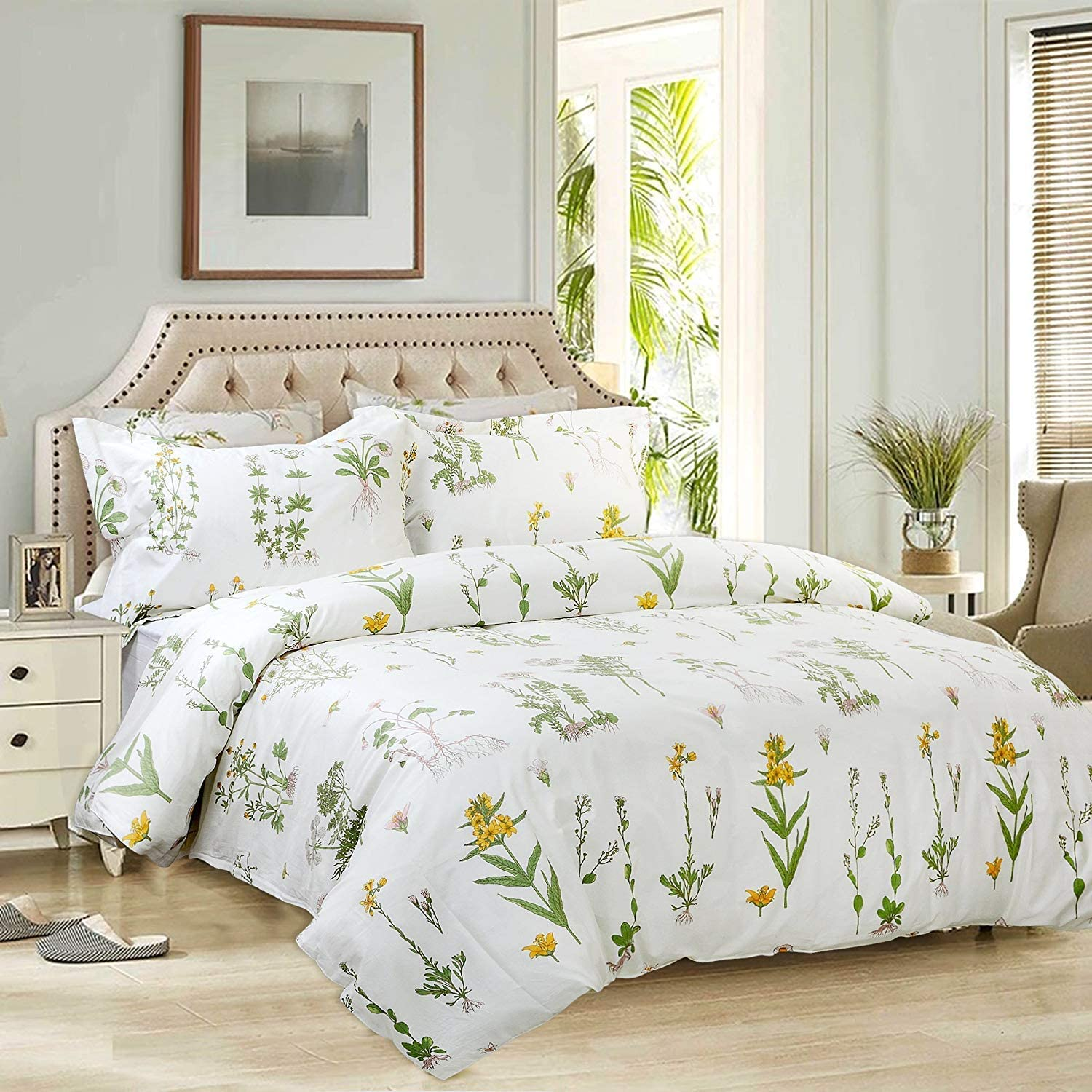 FADFAY 3 Pieces 100% Cotton Twin XL Duvet Cover Set Floral Bedding Set Flower Printed Parttern with Zipper Closure 1 Duvet Cover 2 Pillowcases for Kids Adult