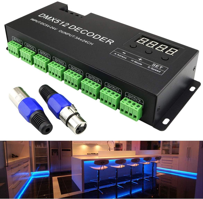 AZIMOM DMX 512 Decoder with Digital Display Dimming Driver RGB 24CH LED Decoder Controller for Tape Strip Light DC5V-24V (24 Channel)