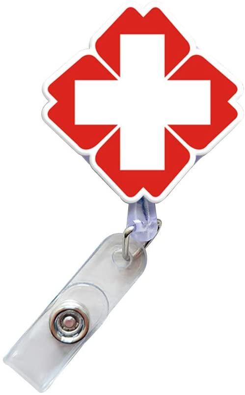 AYHU Nursing Retractable Badge Reel for Nurse Doctor Paramedic Hospital Office Name ID Badge Holder with Belt Clip (Red Cross)