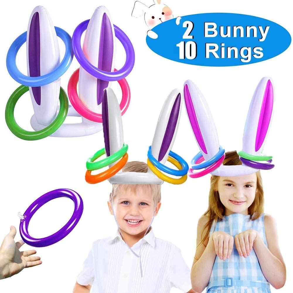 2 Set Inflatable Bunny Rabbit Ears Ring Toss Game Easter Party Games Easter Inflatable Toss Game Toys for Easter Stock Stuffer Easter Party Supplies(2 Rabbit Earsh eadband+10 Rings)