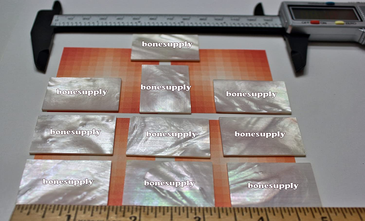 10 pieces Inlay material white mother of pearl shell blanks (38mmx25mmx1.5mm).