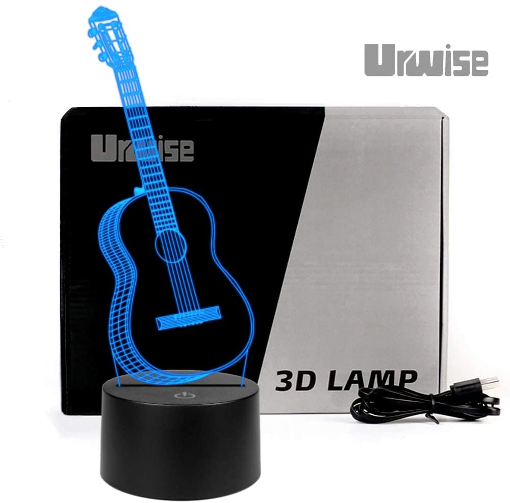 Urwise GUITAR 3D Illusion Lamp Music Decorations Lamp,7 Colors Changing,Smart Touch Button USB Powered,Music Lovers Gifts And Guitar Party Decor ZB-3272