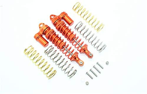 GPM TRAXXAS-1/10 RUSTLER 4X4 VXL-67076-4 Aluminum Rear Adjustable L-Shape Piggy Back Shocks 102MM -14PC Set (Orange)