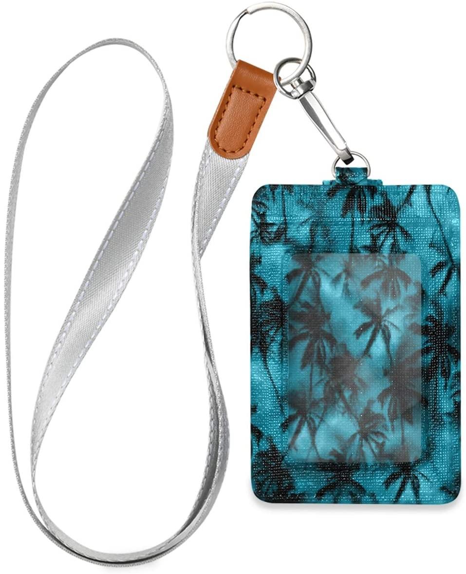 Badge Holders Palm Tree Shirt Tropical Pattern Hot Id Badge Holder Vertical, Badge Holder For Women Men, Badge Holder With Lanyard, Work Id Badge Holder, Leather Card Badge Holder For Office School Id