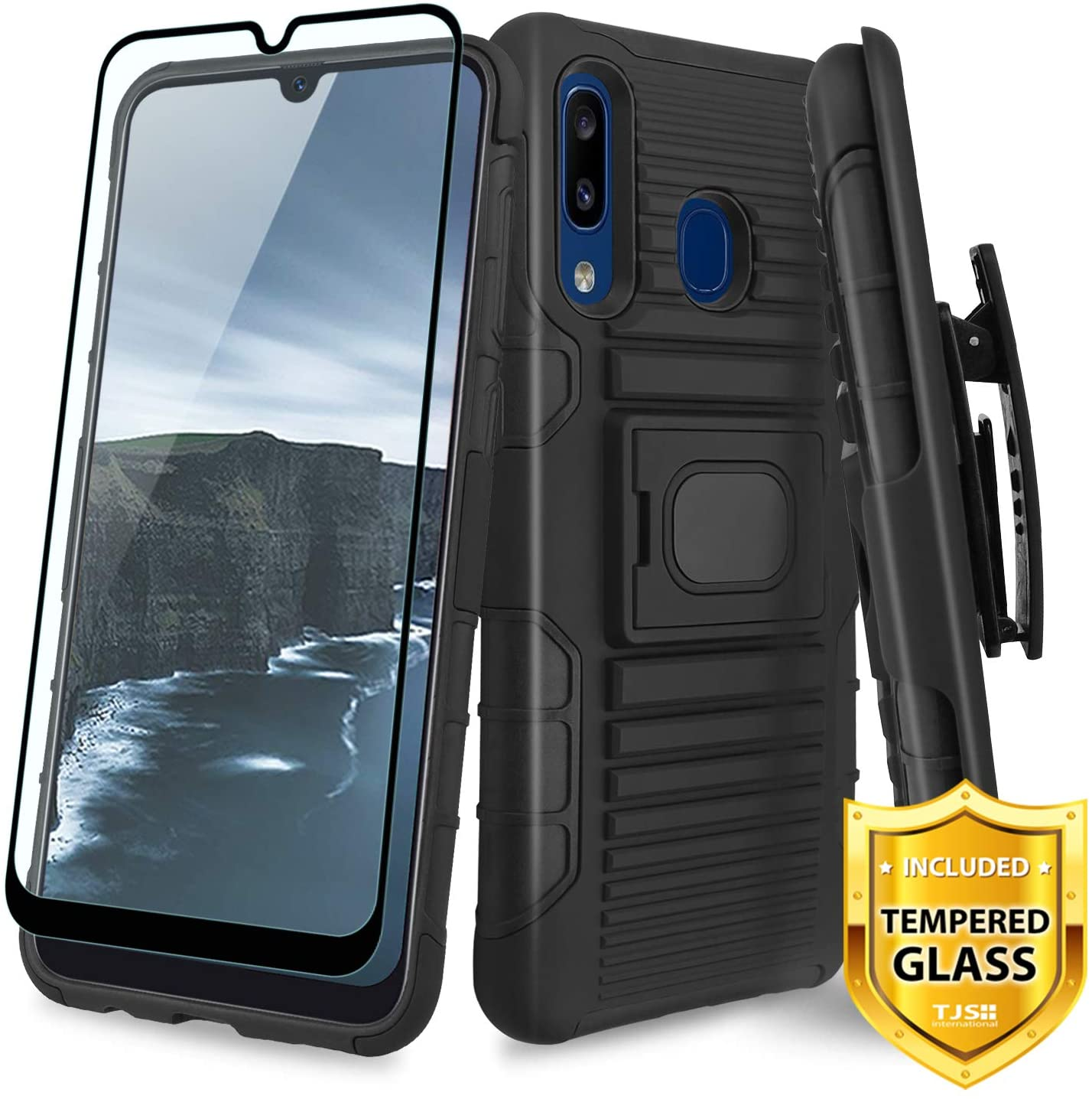 TJS Phone Case for Samsung Galaxy A50/Galaxy A30/Galaxy A20, with [Full Coverage Tempered Glass Screen Protector] Belt Clip Holster Magnetic Support Hybrid Kickstand Heavy Duty Armor Cover (Black)