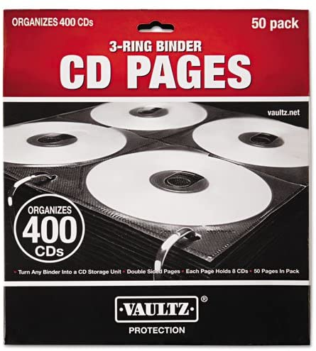 Vaultz - Two-Sided CD Refill Pages for Three-Ring Binder, 50/Pack VZ01415 (DMi PK