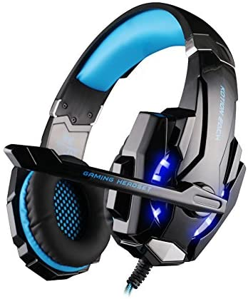 FAMKIT Gaming Headset for Laptop PC Computer Stereo Noise Cancelling Over Ear Headphone with Mic LED Light