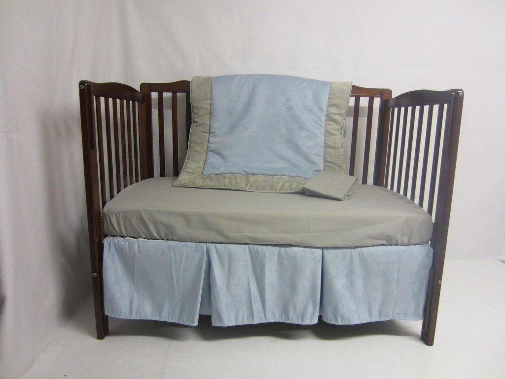 Baby Doll Bedding Zuma 4 Piece Crib Bedding Set, Grey/Blue