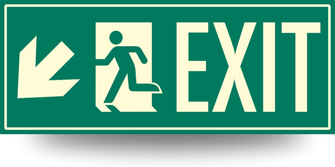 Low Proximity Photoluminescent Exit Sign Running Man (Left Down Arrow) 15
