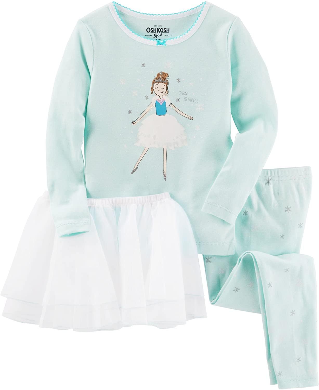 OshKosh B'gosh Baby Girls' 3 Piece Ballerina Tutu Cotton Pajamas