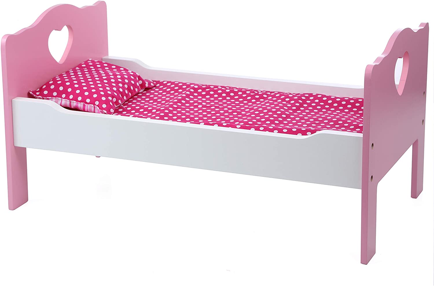 Beverly Hills Doll Accessories Bed and Bedding Wooden Furniture and Linen Accessories, Fits 18 Inch American Girl Doll. Made with Extra Durable Solid Wood