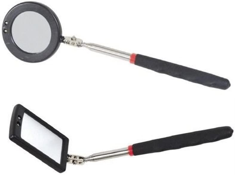 Hq 2pcs(square & Circle) Two high-intensity LED Light Inspection Mirrors Adjusting to any angle 360 Rotation Extend up to 34