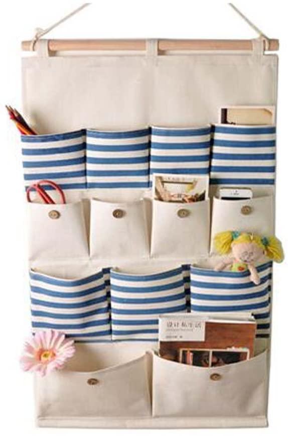 George Jimmy 13-Pockets Zakka Wall Door Hanging Storage Bag Case Magazine Organizer, A