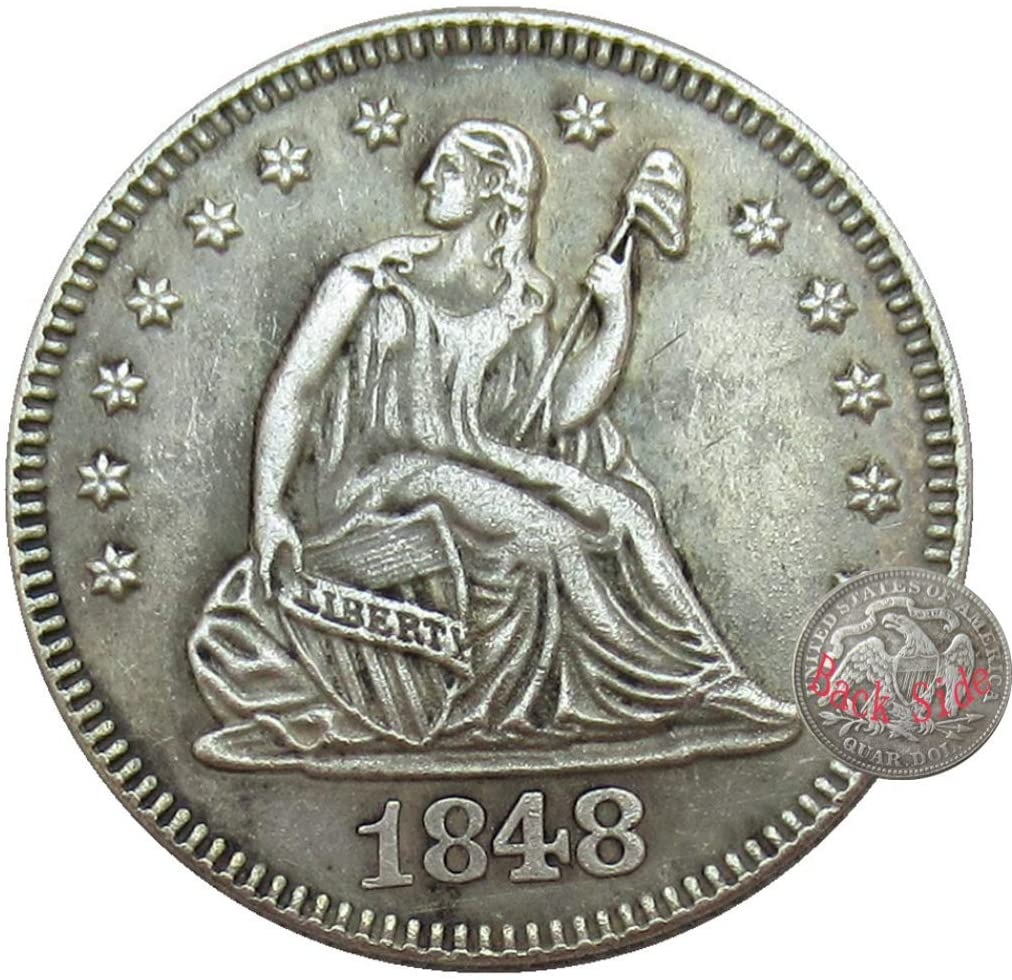 NiuChong Historic US Old Coins-1848 $Quarter-Dollar Replica Morgan Dollar US Coin- Carved Holding Flag Commemorative Great Gift-Uncirculated Favors Coin Love Products